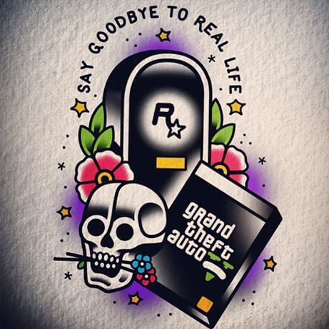 #tattoo #tattoos #gta #gta5 #grandtheftauto #traditional #art #artsy #geek #oldschool #tattooflash #game #videogame #xbox #playstation #watercolor #derickjames #illustration #sketch #classicattoo #skull #vicecity #sanandreas #libertycity #rockstar #rockstargames #geektattoo #nerdytattoos #nerd