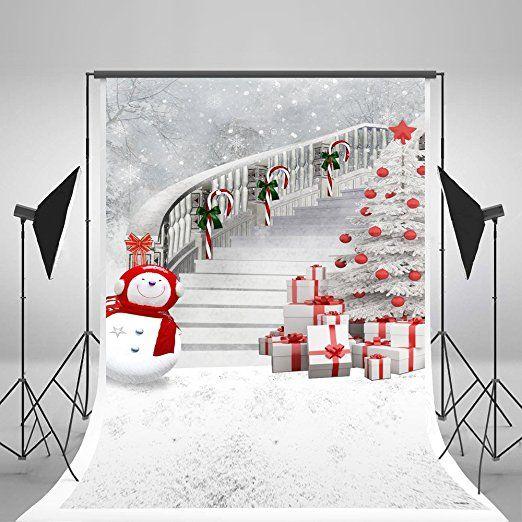 5x7ft Christmas Tree Photography Backdrops Snowman Gift Box White Photo Studio Background Frozen Snow Backdrop for Children
