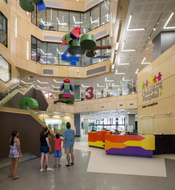 The hospitals main atrium houses the main reception area