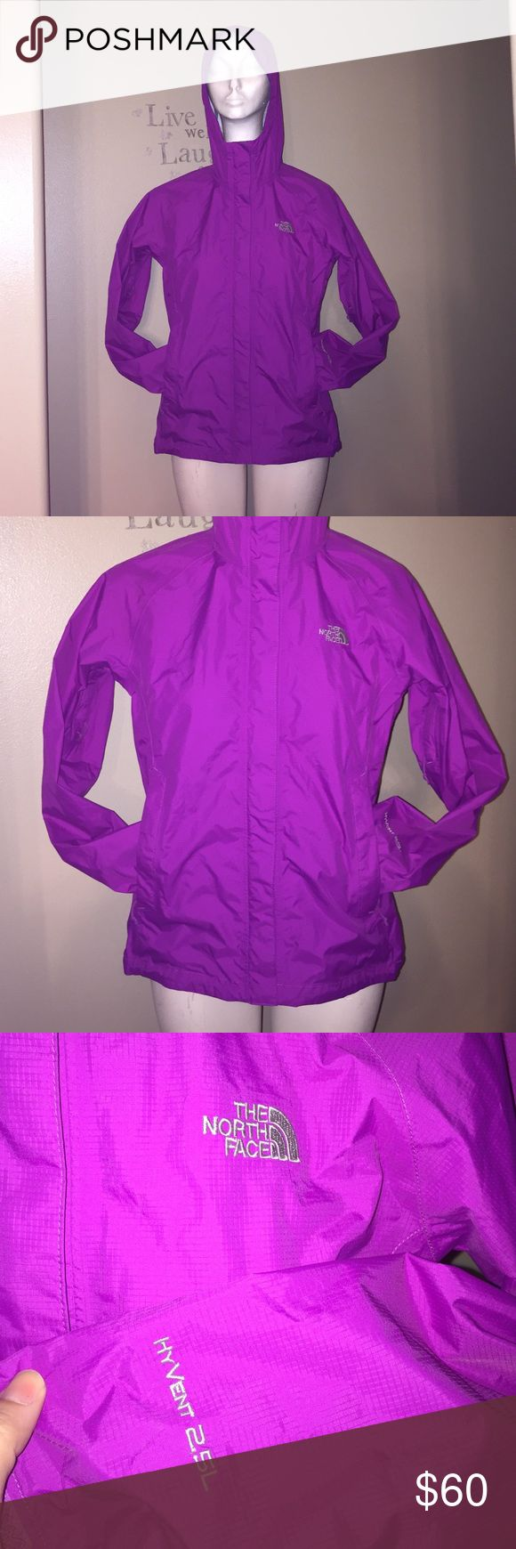 The North Face Rain Jacket Hyvent 2.5L Like new conditions!  The North Face magenta/purple rain jacket.   The jacket has attached hood and underarm zippers. The North Face Jackets & Coats