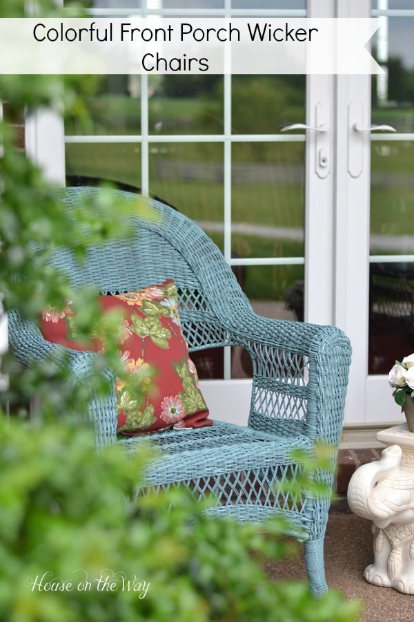 Colorful Front Porch Wicker Chairs from houseontheway.com