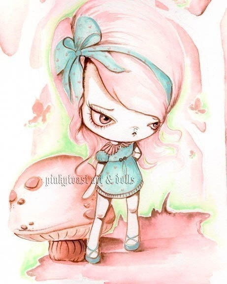 Little Alice in Wonderland and the Eat Me Mushroom by pinkytoast