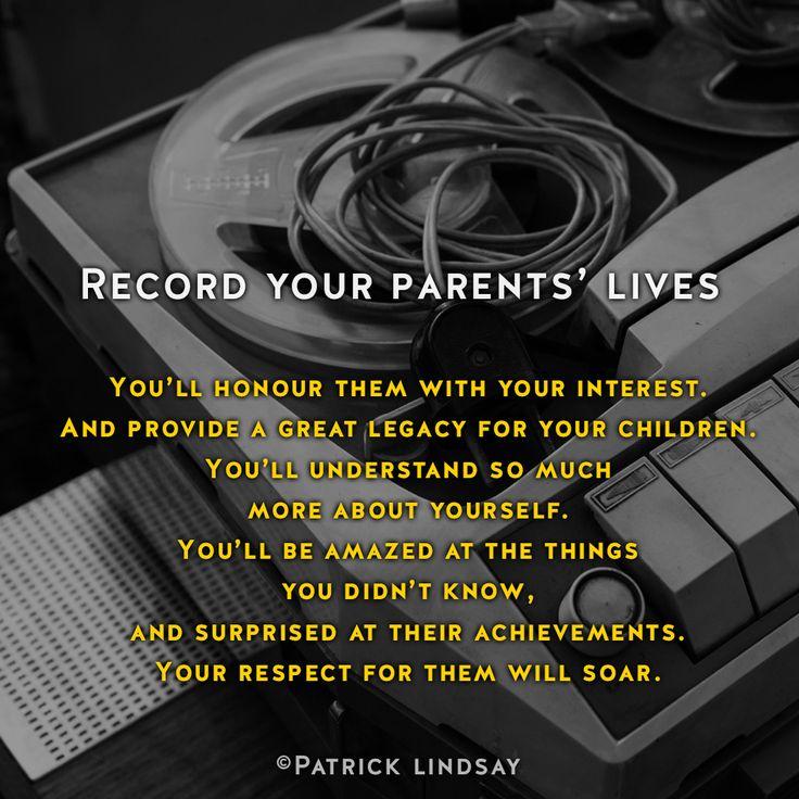 Record your parents lives #inspiration #highhopes #makethemostofyou #dymocks Make the most of you: http://goo.gl/iBCYku