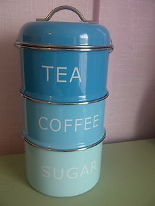 Teal Turquoise Blue Stacking Enamel Storage Canisters Tins Tea Coffee Sugar New Ebay For The