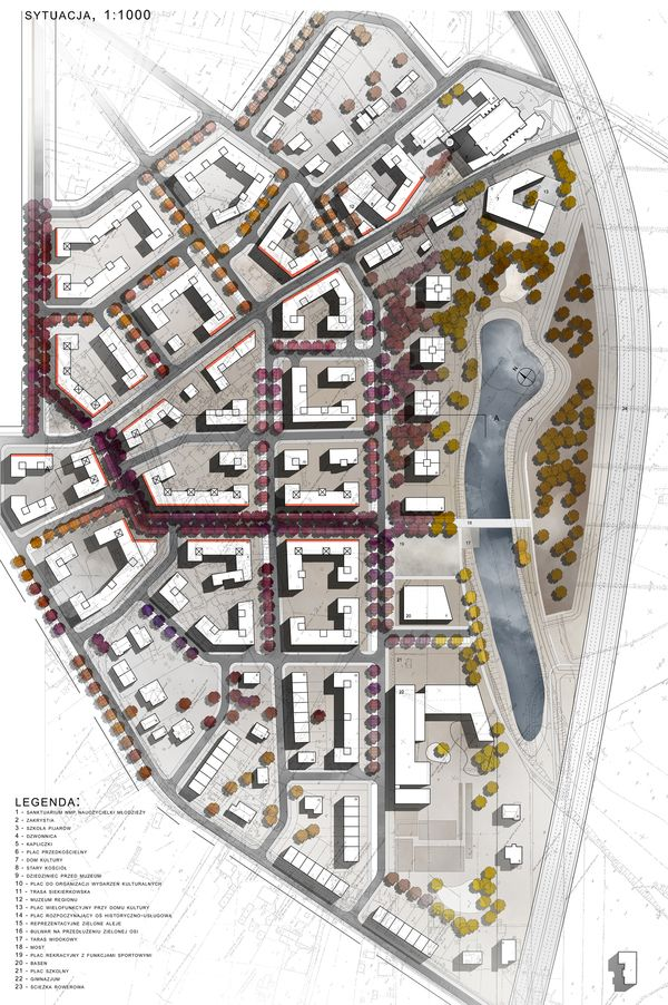 Urban project: masterplan for Siekierki district by Karolina Pajnowska, via Behance