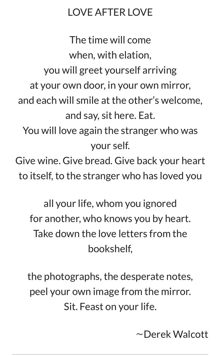 Love after Love Poem by Derek Walcott