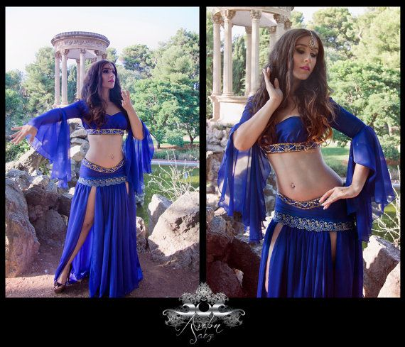 Bellydance costume Arabian Nights Princess  Fantasy top and skirt silk and gauze oriental dance gypsy sleeves tribal fusion