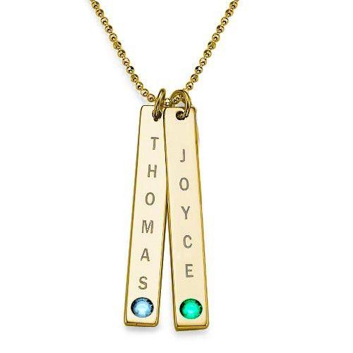 Swarovski Vertical Bar Necklace For Mothers   MyNameNecklace