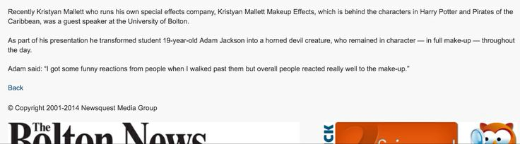 About Kristyan Mallett's visit to Bolton University, horned makeup on student.