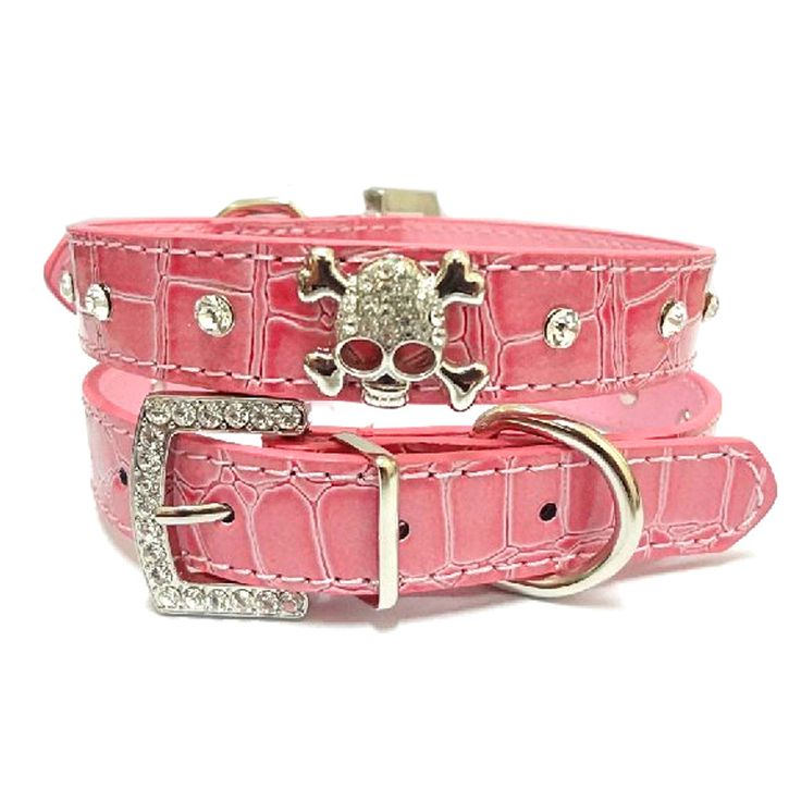PU Leather Dog Collar Rhinestone Puppy Buckle Puppy Pet Collars Perro Led Small Dog Collars With Skull Pet Accessories 4 Colors >>> You can get additional details at the image link.