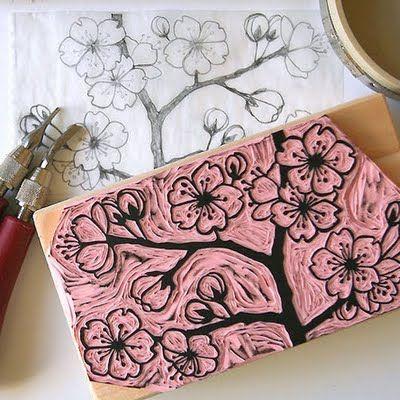Designer kim buchheit block printing stamp carving eraser