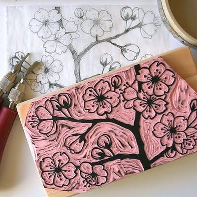 kim buchheit, hand-carved illustrations and creating patterns from them for surface design application.