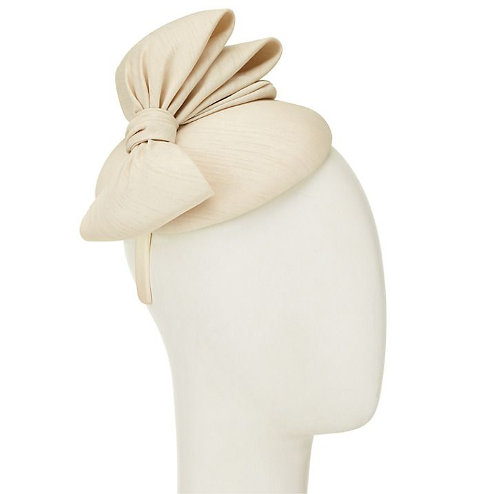Buy John Lewis Paige Shantung Pillbox Bow Fascinator, Champagne Online at johnlewis.com