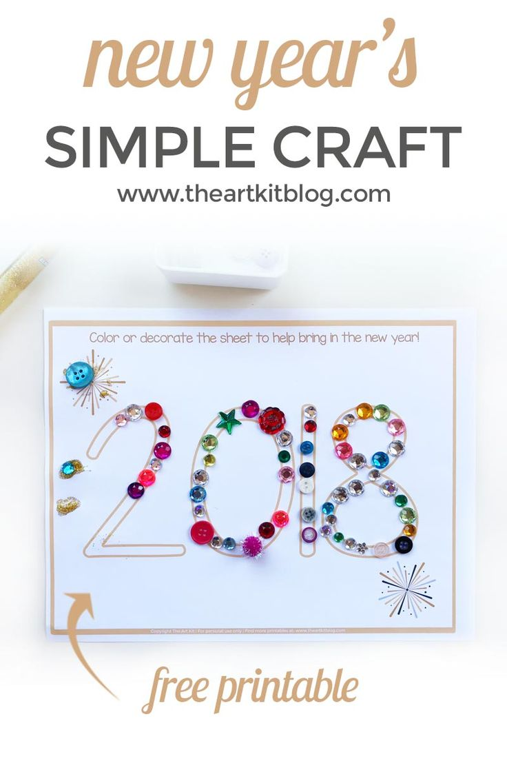 Simple New Year's Craft for Kids {Free Printable} via @theartkit