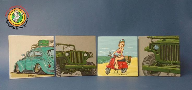 Left to right, classic #volkswagen #beetle (or #bug), #WW2 #willysjeep MB, a #pinup riding her #Vespa PK #scooter and another #G503 #jeep. Acrylics on canvas, 15 x 15 cms.