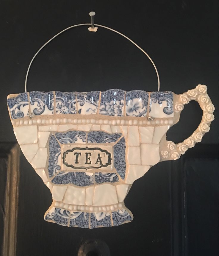 A personal favorite from my Etsy shop https://www.etsy.com/listing/598366109/teacup-mosaic-wall-hanging