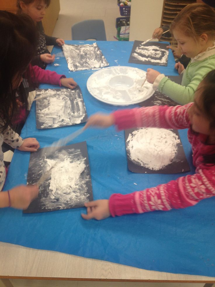 3D snow !   This craft is easy and fun for children! We used white shaving cream, white glue and a paint brush on a black piece of construction paper.