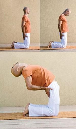 """ТРЕТЬЕ """"ТИБЕТСКОЕ"""" УПРАЖНЕНИЕ, которое восстанавливает молодость, здоровье и жизнеобеспечение организма.   Встаньте на колени, выпрямив тело. Руки положите на бедра. Наклоните голову и шею вперед, прижав подбородок к груди. Затем отбросьте насколько можно голову назад и в то же время откланяйтесь назад, сгибая позвоночник. Затем вернитесь в исходное положение."""
