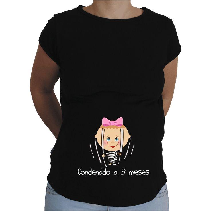 Camiseta para embarazada Divertida - Condenada a 9 meses.