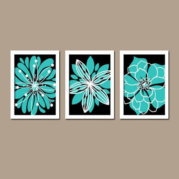 Turquoise black wall art canvas or prints bedroom artwork turquoise bathroom pictures flower outline burst dahlia set of 3 home decor