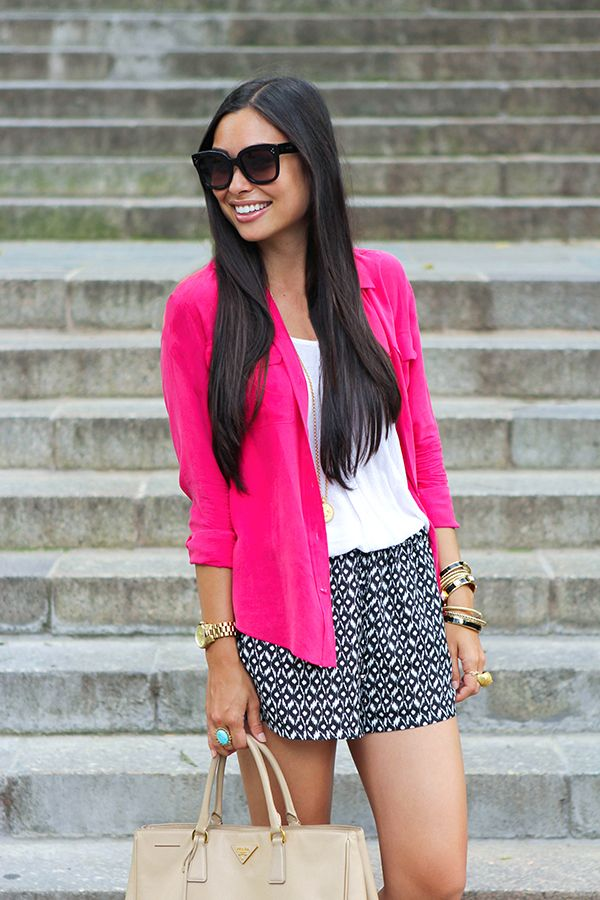 Just discovered this little gem of a blog:  With Love From Kat.  Love that she's using a bright button up as a jacket!