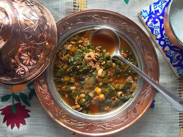 Borani  /Minced Meat Stew  With Chard &Chickpeas