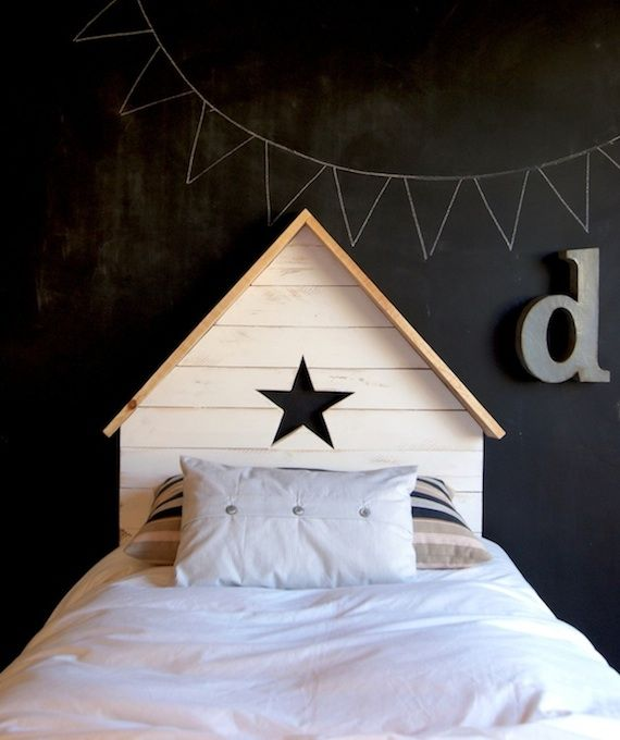 Deconiños: los cabeceros infantiles de La Factoría Plástica | Ministry of Deco: Kids Beds, Headboards, Head Boards, Nursery Decor, Child Bedrooms, Chalkboards Wall, Bedrooms Wall, Wooden Stars, Kids Rooms