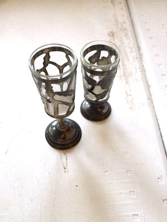Zwei seltene Vintage Zinn und Glas von SoGlamorouslyVintage auf Etsy