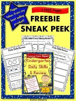"{FREEBIE SNEAK PEEK} Kindergarten Daily Skills & Review- Be sure to ""FOLLOW"" my Teachers Pay Teachers store to receive notices of new FREEBIES, sales, and products. #Commoncore #ELA #Math #Kindergarten #Teacherspayteachers #printandgo #free"