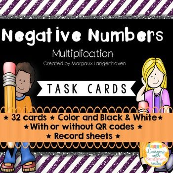 Multiplying Negative Numbers. Use these task cards as a practice activity for Negative Numbers.