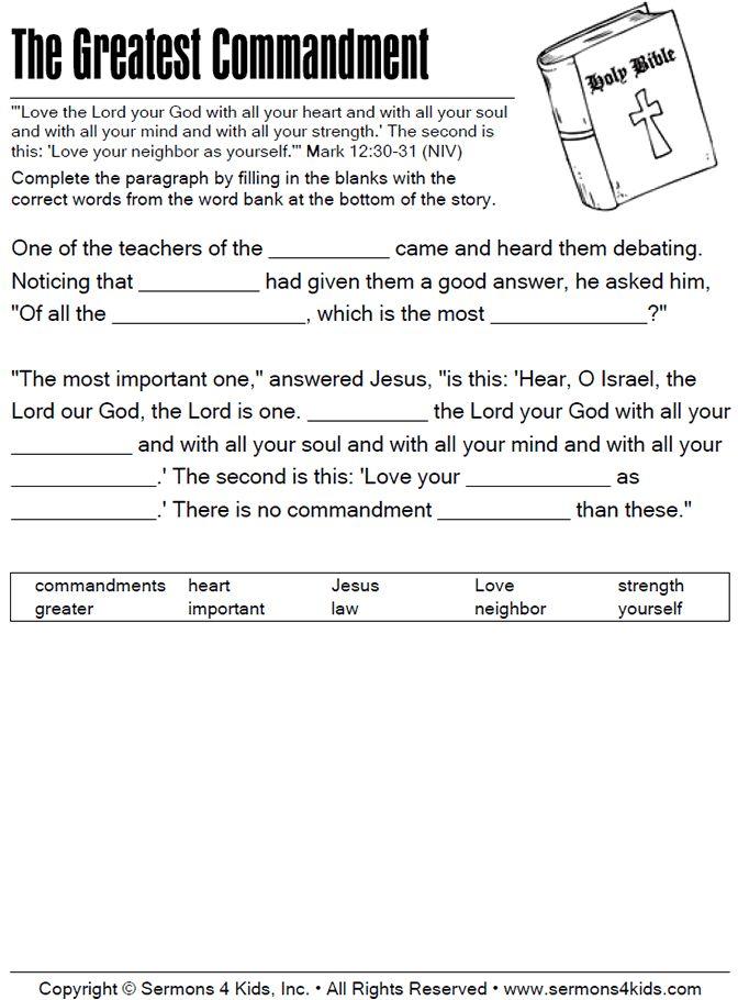 Great Commandment For Kids The Greatest Commandment