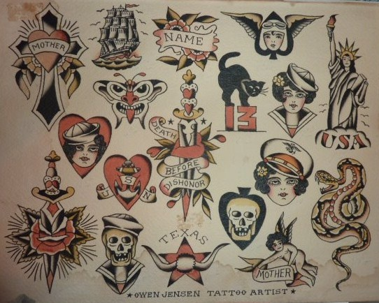 original owen jensen 1940 s traditional tattoo flash pinterest posts originals and. Black Bedroom Furniture Sets. Home Design Ideas