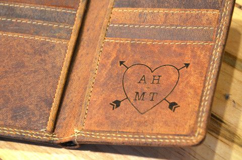 Laser engrave a secret and special message inside this beautiful leather wallet.