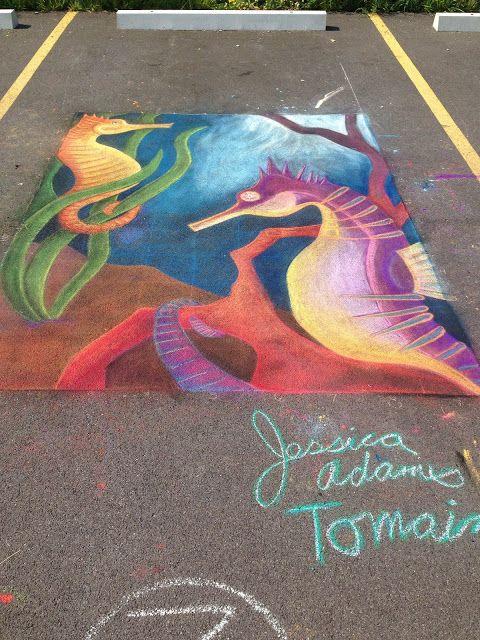 Sweet Chalk Festival 2015 Lockport NY Chalk Art. Jessica Adams Tomaino. Wild at Heart Illustration. Lined Sea Horse. Sea Horse Art. Underwater Art. Ocean Art. Pastel Art.