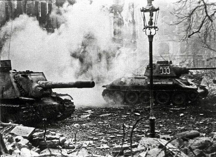 T-34 and ISU 152 Breslau, March 1945 wroclaw | by Panzertruppen