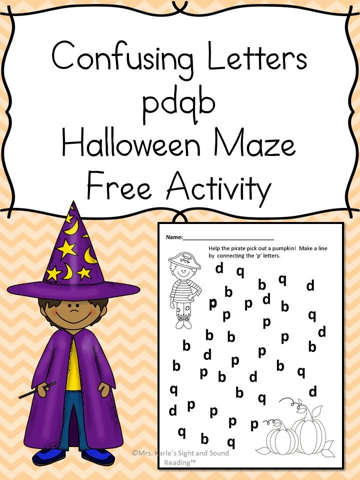 Confusing Letter Halloween Maze : Halloween maze, Halloween worksheets and Phonics
