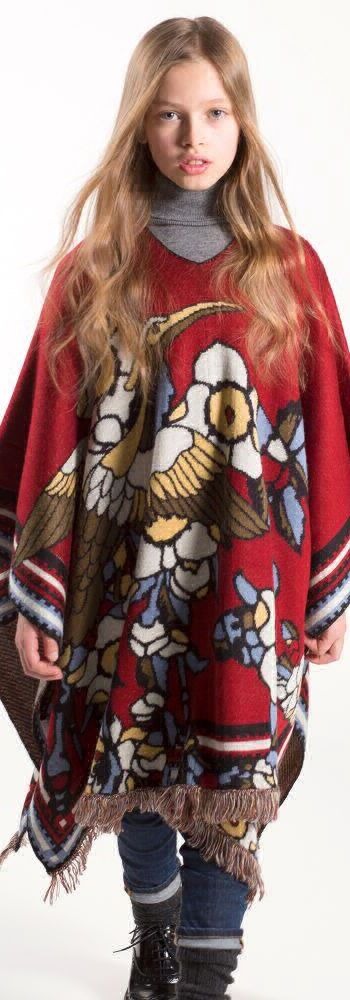 SALE !!! DSQUARED2 Girls Long Knitted Mini Me Designer Poncho. Super Cool Streetwear Look for Girls Inspired by the DSQUARED2 Women's Collection. Cool Boho-Chic Outfit, this knitted poncho by DSquared2 has dramatic flair that girls will love with its colorful bird and flower pattern. Now on Sale! #kidsfashion #fashionkids #girlsdresses #childrensclothing #girlsclothes #girlsclothing #girlsfashion #minime #mommyandme