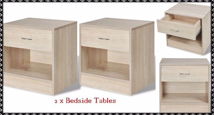 Pair Of Bedside Cabinets Oak Colour Bedside Table with Drawer Telephone Lamp UK #PairOfBedsideCabinets #Modern