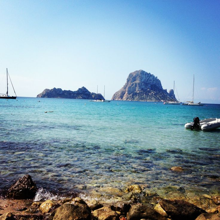 View on the mystic mountain Es Vedra, taken from the beach of Cala d'Hort. One of the best beaches on this island! #ibiza #esvedra