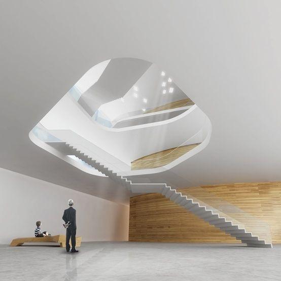 Modern Architecture, Museum, Tolerance, Jerusalem, Chyutin Architects, futuristic design, future, stairs, minimal, white, architecture by FuturisticNews.com