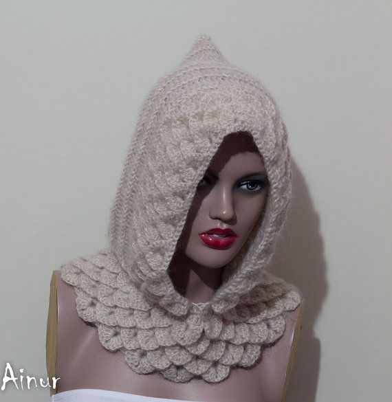 Beige Crocodile Hooded cowl Hooded Cowl Knit Hood Pixie Hat Slouch Slouchy Sc...