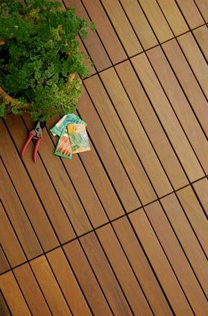 HandyDeck Ipe wood tiles - Double-C style