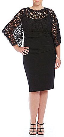 Plus Size Lace Kimono-Sleeve Dress