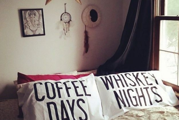 Coffee days and whiskey nights pillowcases.