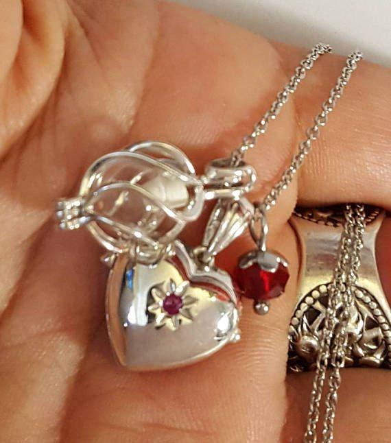 Médaillon en argent sterling coeur rubis   Orbe de w/Fillable médaillon spirale   Médaillon de rubis en argent   Urne bijoux en argent   Urne en médaillon en argent   Pierre de naissance