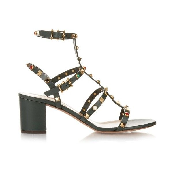 Valentino Rockstud Rolling leather sandals (45,875 INR) ❤ liked on Polyvore featuring shoes, sandals, strappy leather sandals, block-heel sandals, multi color sandals, leather strap sandals and flip-flop sandals