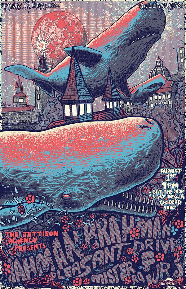 music event poster on Behance by  Jeff Ockerse, Columbus, OH, USA | Illustration | Ilustração | Whale | Draw | Drawing |