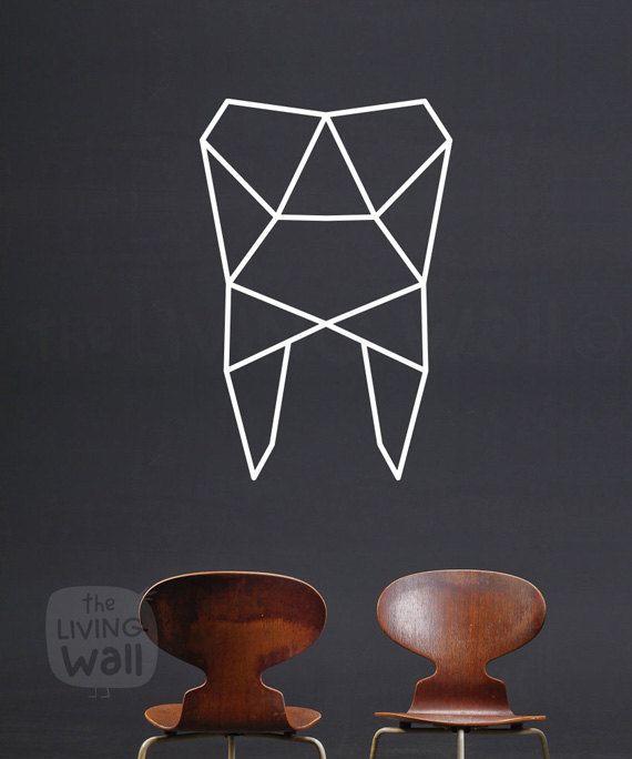 Wandkunst geometrische Zahn Zahn Aufkleber Wand von LivingWall