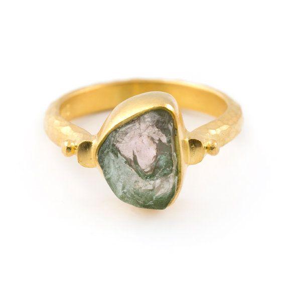 raw green tourmaline ring rough tourmaline stone ring