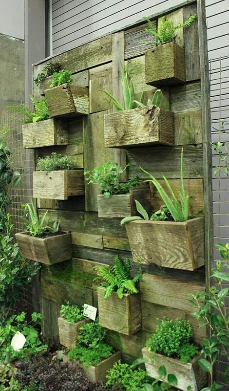 Use recycled wood to create a verticle garden